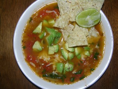 Natasha Maw's first batch of my famous tortilla soup!