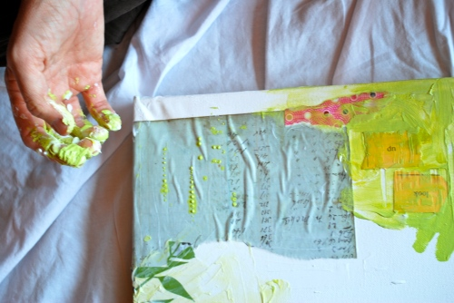 Tracey Clark's collage-in-progress.